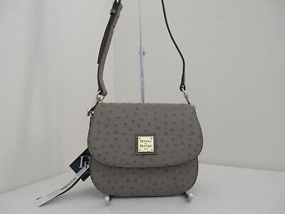 NWT AUTHENTIC DOONEY & BOURKE OSTRICH LEATHER SADDLE CROSSBODY BAG-$218-GREY