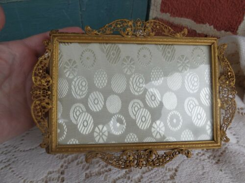 UNUSUAL VINTAGE FRENCH GOLD GILT FILIGREE ORMOLU PLATEAU TRAY TOP JEWELRY BOX