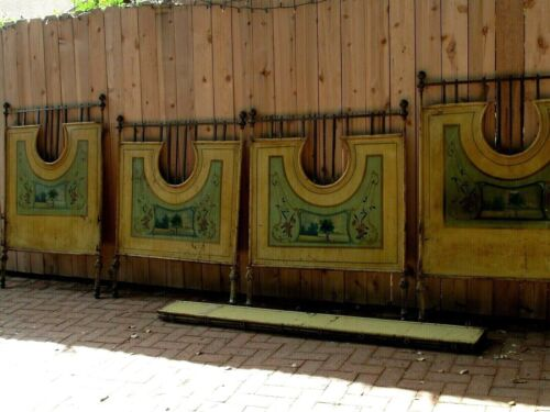 Antique Pair of French Scenic Painted Metal, Brass and Iron Twin Beds