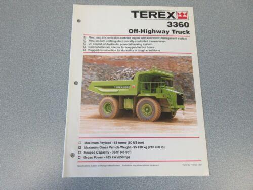 Terex 3360 Dump Truck Literature