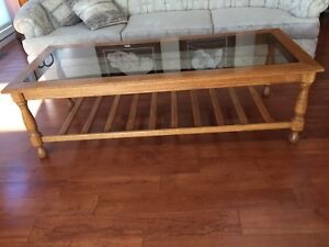 Oak and glass top coffee table