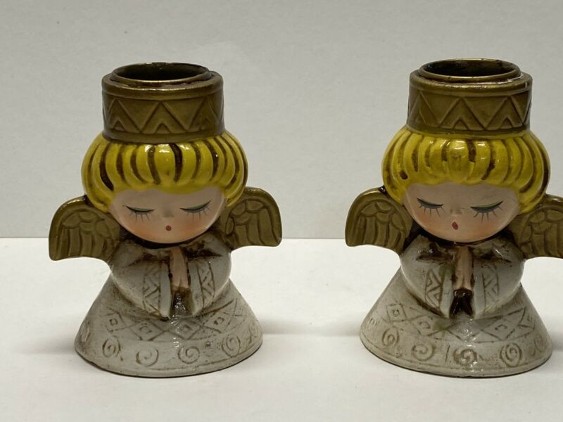 Vintage Set Of 2 ~ HF Co. ~ Angel Christmas Candleholders ~ Mid Century Modern