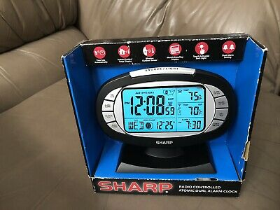 SHARP Radio Controlled Atomic Dual Alarm Clock W/Inside outside temperature