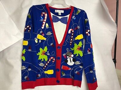 Mens Christmas Vests - Mens Christmas sweater S, M, L, XL or 2X   blue Sweatr Vest Tie Look cardigan