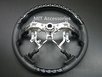 MIT Toyota TUNDRA 2nd Gen 2007-2013 Black Piano genuine leather steering wheel