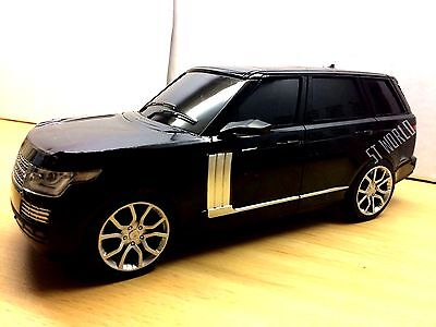 LARGE BLACK RANGE ROVER VOGUE RADIO REMOTE CONTROL CAR 1:16 + FREE BATTERIES
