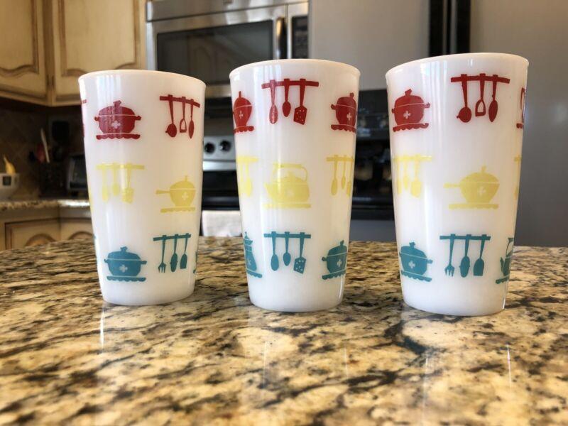 "Fire King 5"" Kitchen Aids Glasses Tumblers 11 oz. Multi color set of 3"