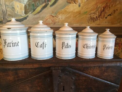 Antique French Enamelware Kitchen Cannister Metal Pot S/5 Provence