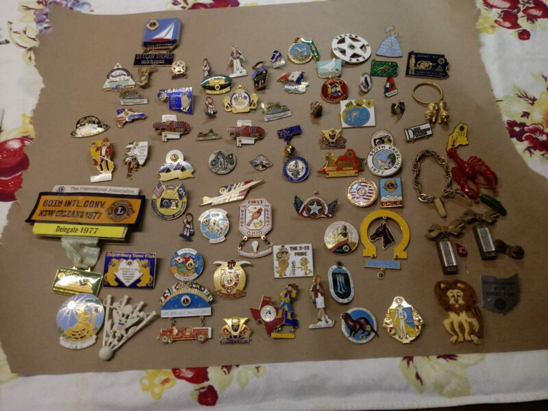 Vintage Lions Club Pin Lot 79 Total From All Over