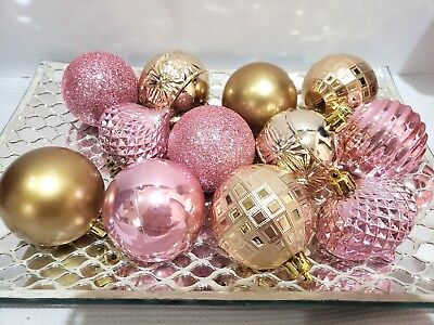 12 Shabby Chic Pink Gold Glitter Shiny Christmas Ball Ornaments Decor 2.75