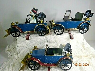 Christmas Metal Antique Car Stocking Holder Set of 3