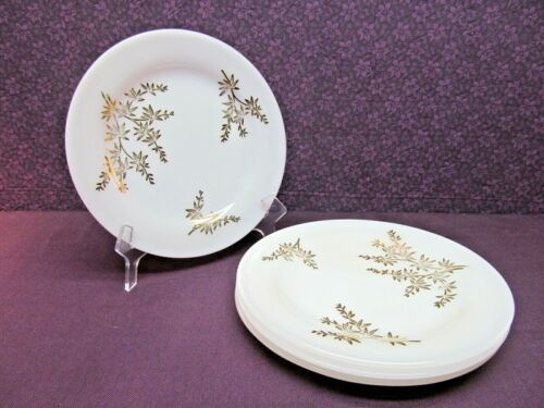 "VINTAGE FEDERAL MILK GLASS - GOLDEN GLORY PATTERN 7 3/4"" SALAD PLATES - SET OF 4"