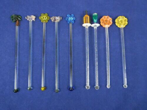 Vintage Lot of 9 Art Glass & Plastic Swizzle Sticks Drink Cocktail Stir Stirrer