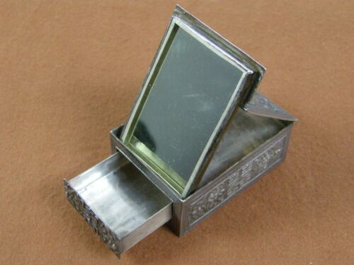 Antique Signed Chinese/Tibetan  Silver Traveling Makeup Box Compact w/ Mirror