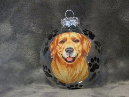 HAND MADE GOLDEN RETRIEVER GLASS CHRISTMAS ORNAMENT / BALL