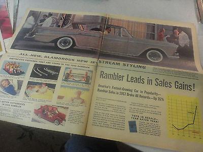 Very Rare! All-New Rambler for 1958 Brochure Newspaper Like!