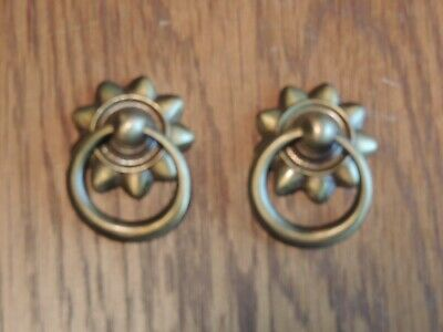 Antique Brass Finish Hardware - 6 New Solid Antique Brass Finish Small Drawer Pulls Cabinet/Furn. Hardware~#902