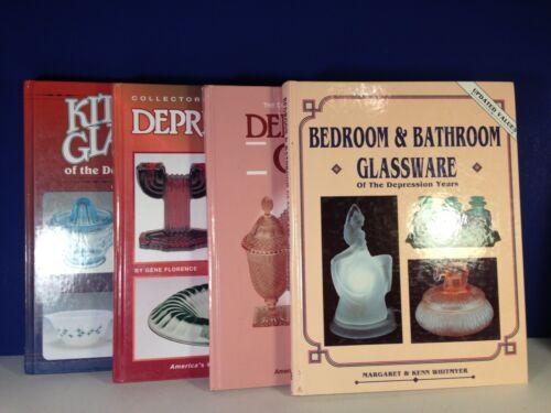 Set of 4 DEPRESSION KITCHEN & BATHROOM GLASS Hard Cover Reference Books