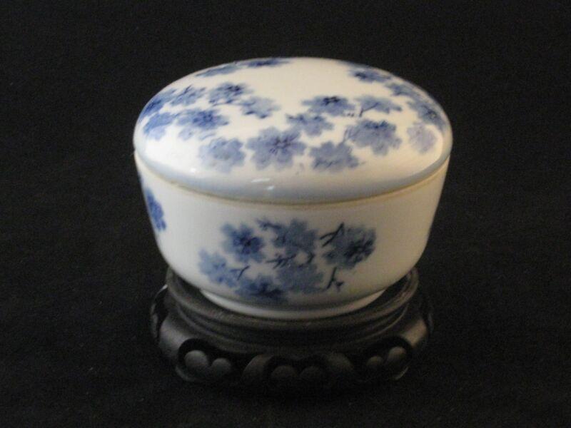 Vintage Blue Cobalt Porcelain Lidded Trinket Box + Matching Display Stand