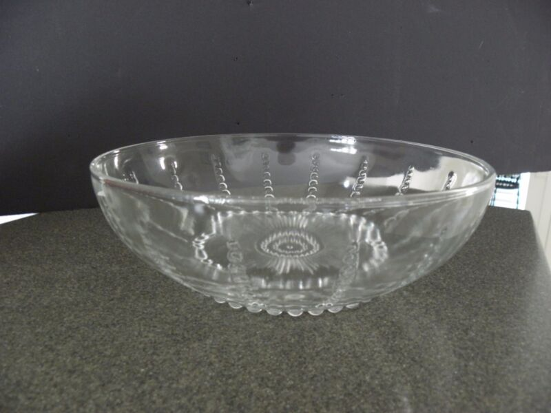 COLUMBIA CLEAR LARGE DEPRESSION GLASS BOWL