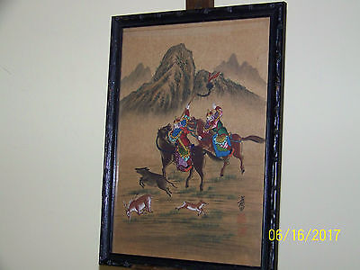 "Chinese School Ch'ing Dynasty Museum Quality WaterColor On Rice Paper ""The Hunt"""