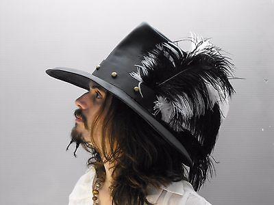 Conquistador black white leather hat pirate feather costume cosplay reenactment