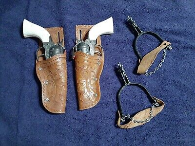 RARE Pony Boy Cowboy Spurs and Toy Cap Guns with Holsters