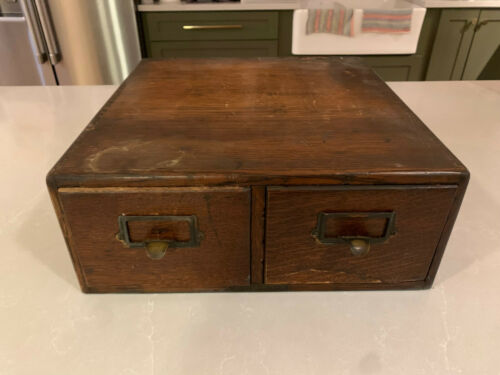 Antique Tiger Oak Double Drawer Card File Cabinet Made By Yawman & Erbe Mfg Co