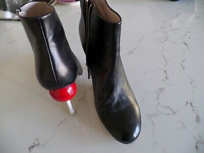 "MINNA PARIKKA Victoria black leather booties w/red lollipop 4.5"" heel sz 41 US10"