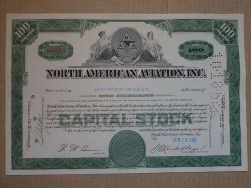 Nortn American Aviation .Inc Stock Certificate 100 Shares 1961