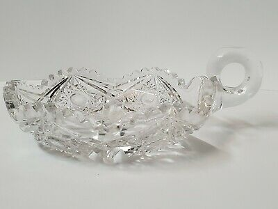 VINTAGE CANDY DISH CUT GLASS WITH FINGER LOOP & SAW TOOTH  EDGE 7 1/2