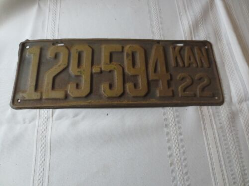 1922 KANSAS LICENSE PLATE 129-594