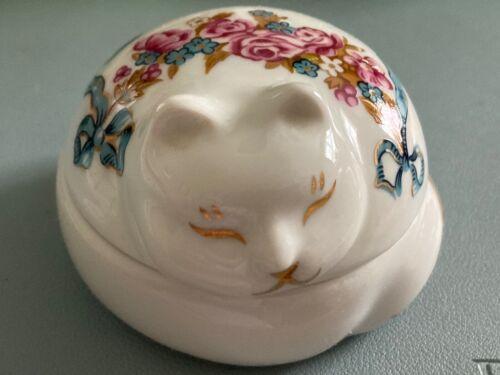 """Elizabeth Arden Ceramic Cat Trinket Dish White/gold/pink Floral Japan 3"""""""