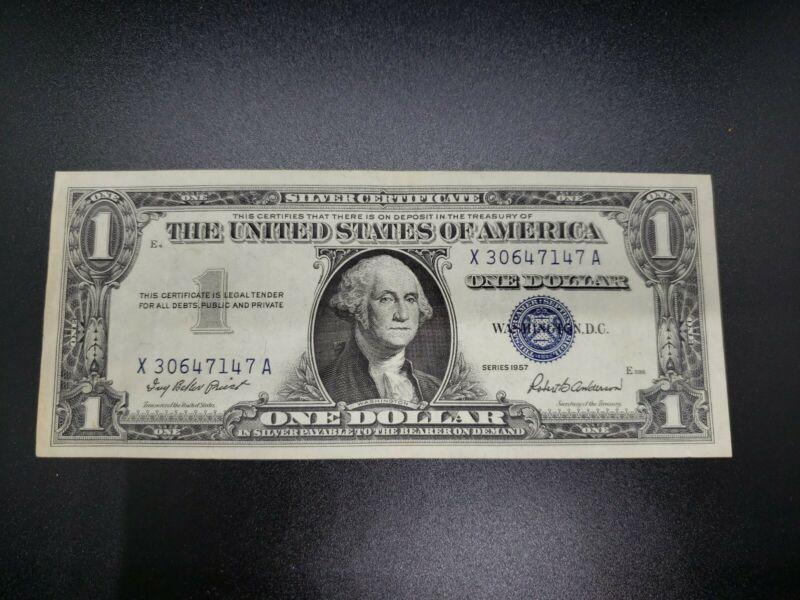 Crisp US One Dollar $1 Bill Series 1957 Silver Certificate Blue Seal