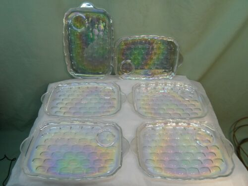 (6) Vintage Federal Glass Iridescent Rainbow Snack Plates, Very Nice Color!
