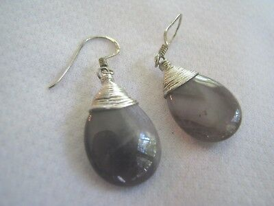 Gray Gemstone Earrings - STERLING SILVER Dangle Earrings GRAY/PURPLE QUARTZ STONE Drop WIRE TRIM Gemstone