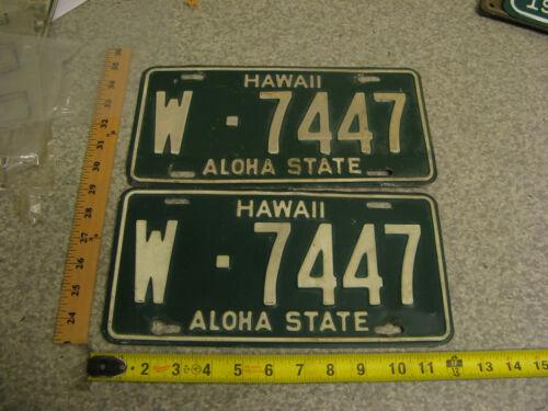 1961 61 HAWAII HI LICENSE PLATE TAG PAIR #W-7447