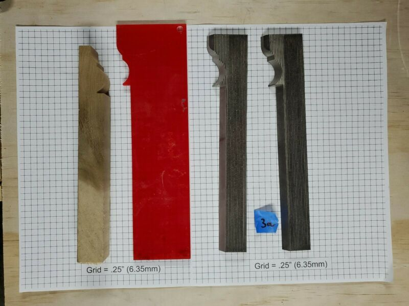 Shaper blades for moulding 229mm x 43mm x 8mm with template, qty=2, sharp,  3a