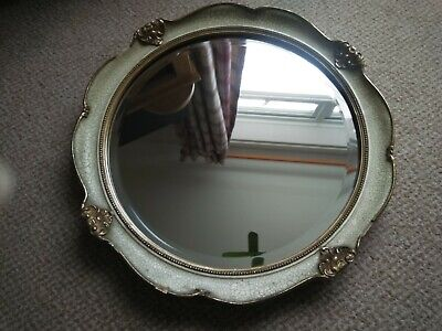 Vintage ornate circular bevelled wall mirror, true shabby chic !!