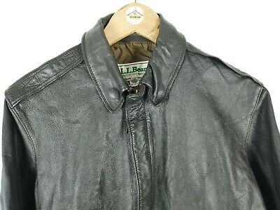 Mens Vintage LL BEAN Leather Goatskin Jacket Size 38 XS Flight Bomber Brown