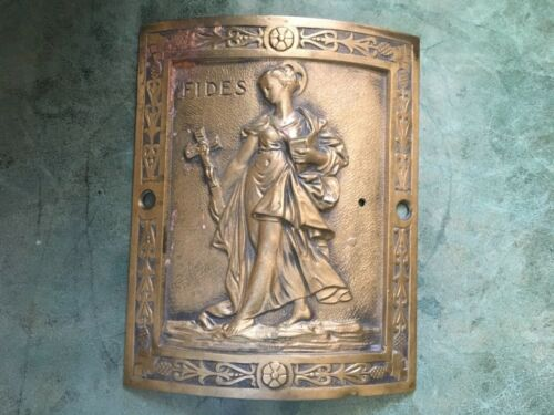 Antique French Bronze Paris Building Plate Curved