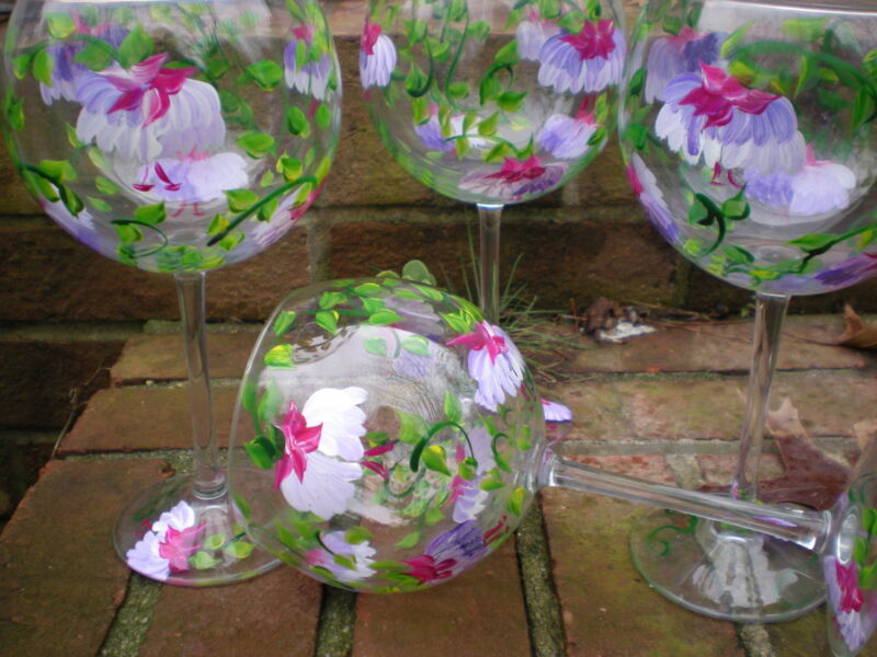 HAND PAINTED PINK AND PURPLE FUSCHIA 19 OUNCE GOBLETS/ SET/4(MADE IN THE USA)