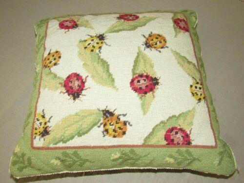 Needlepoint Lady Bug Pillow 15 x 15