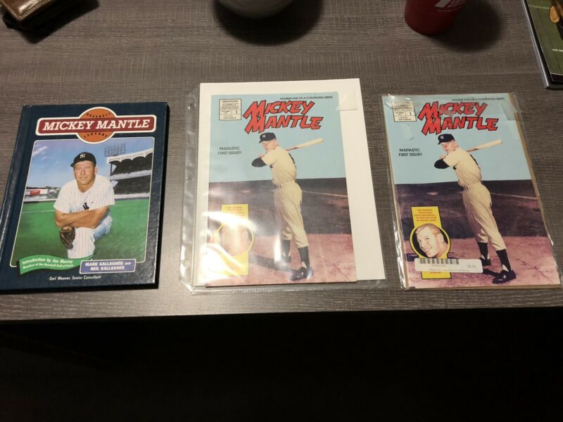 Mickey Mantle comics two first issues (Dec 1991) & Baseball Legends hard cover