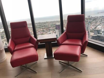 Pure Red Leather Swivel Feature Chair and Ottoman