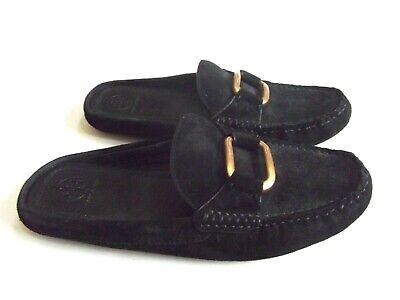 TORY BURCH black suede slide loafers Sz. 8 M excellent