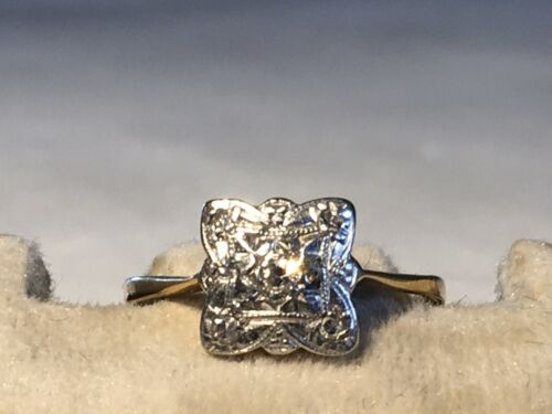 Art Deco Ring 18 ct Gold Platin Diamanten