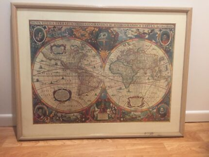 attractive framed world map from the age of discovery - World Map Framed