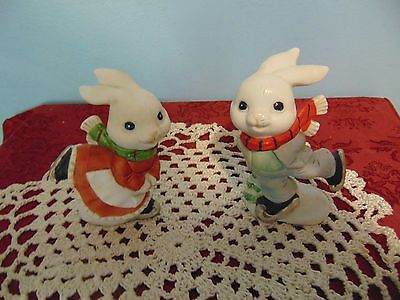 Set of 2 Home Interior Ice Skating Bunny Figurines
