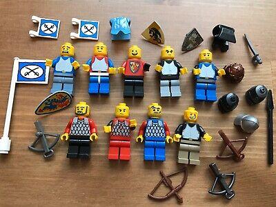 LEGO x9 Castle Knight Minifigure Lot Weapons Helmets Flags